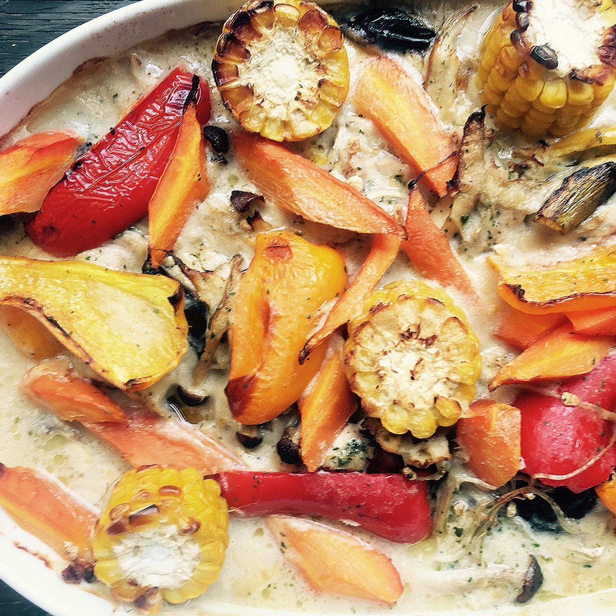 ちしお廻るセピア 夏野菜鶏肉の豆乳グラタン