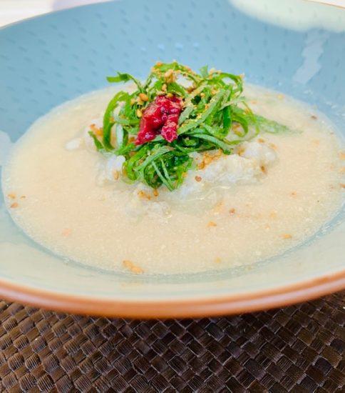 冷水でとかして冷や汁風に・豆乳と大豆の白いみそポタ