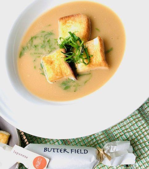 バターでカリッと大きめクルトン・香るスズシロ
